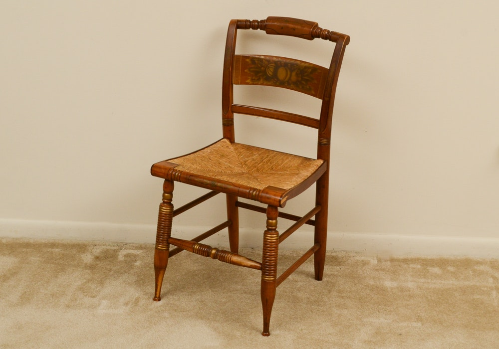 Twentieth Century Hitchcock Chair Co. Stenciled Wood Chair With Rush Seat