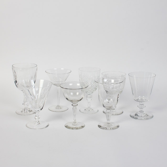 Collection of Crystal Glasses Featuring Baccarat and Waterford
