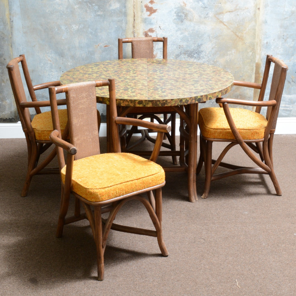 Mid-Century Rattan Leaf Table and Chairs
