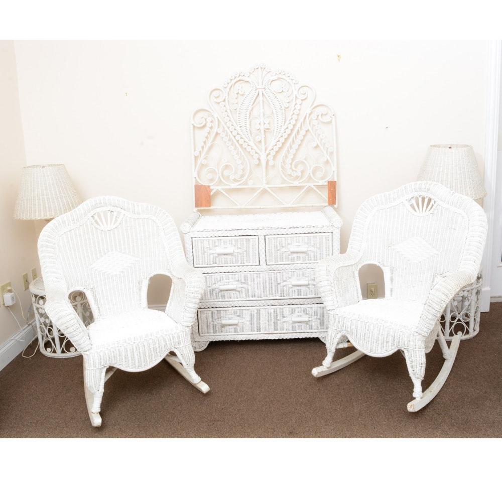 Vintage White Wicker Bedroom Set