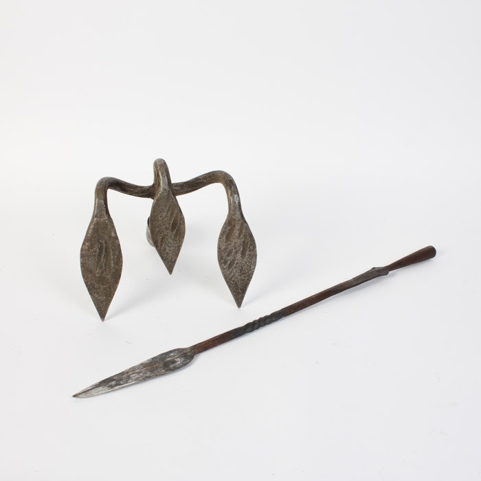 Antique Iron Rake and Spear