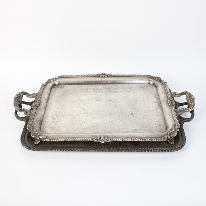 Pairing of Vintage Silver Plate Serving Trays