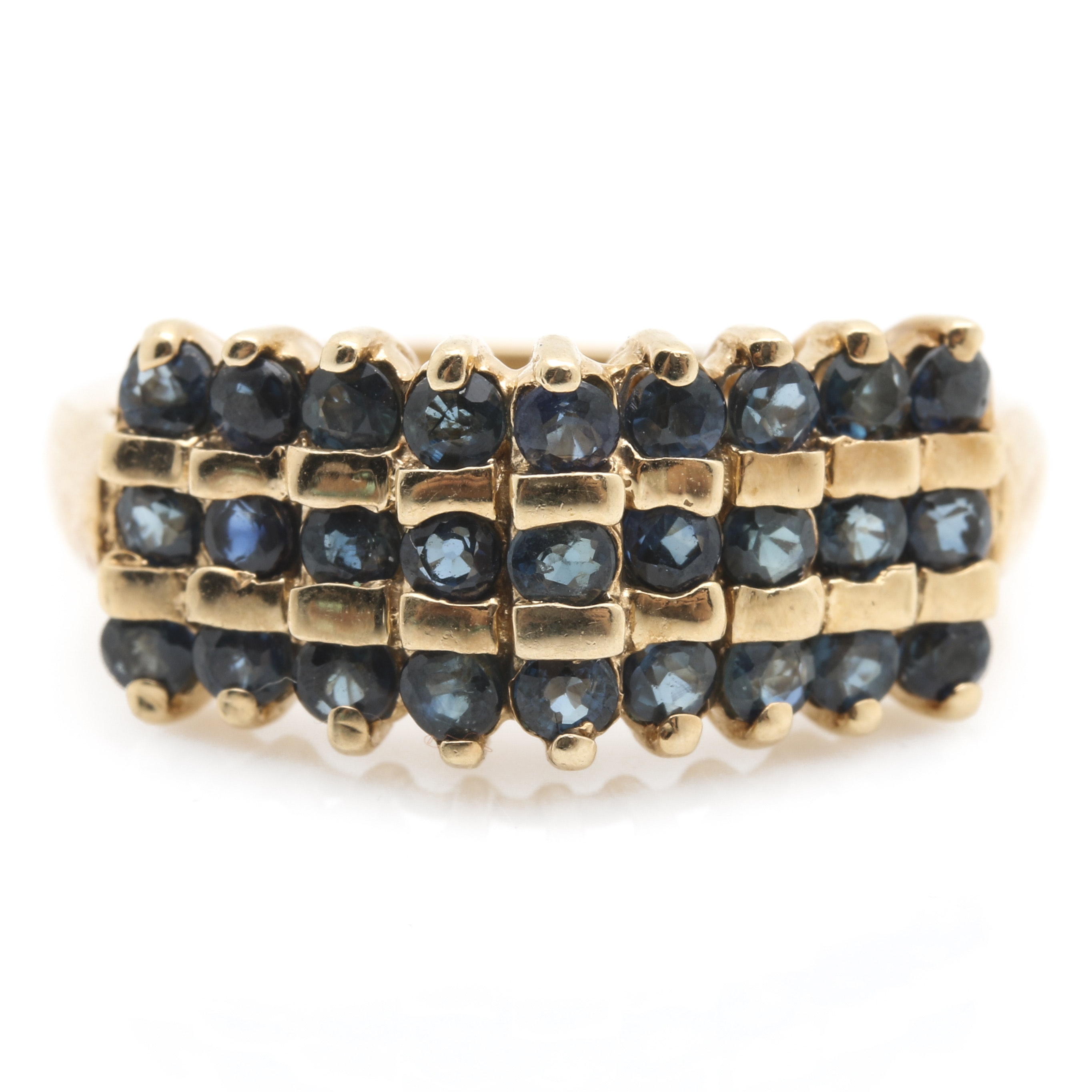 10K Yellow Gold Stepped 1.25 CTW Sapphire Ring
