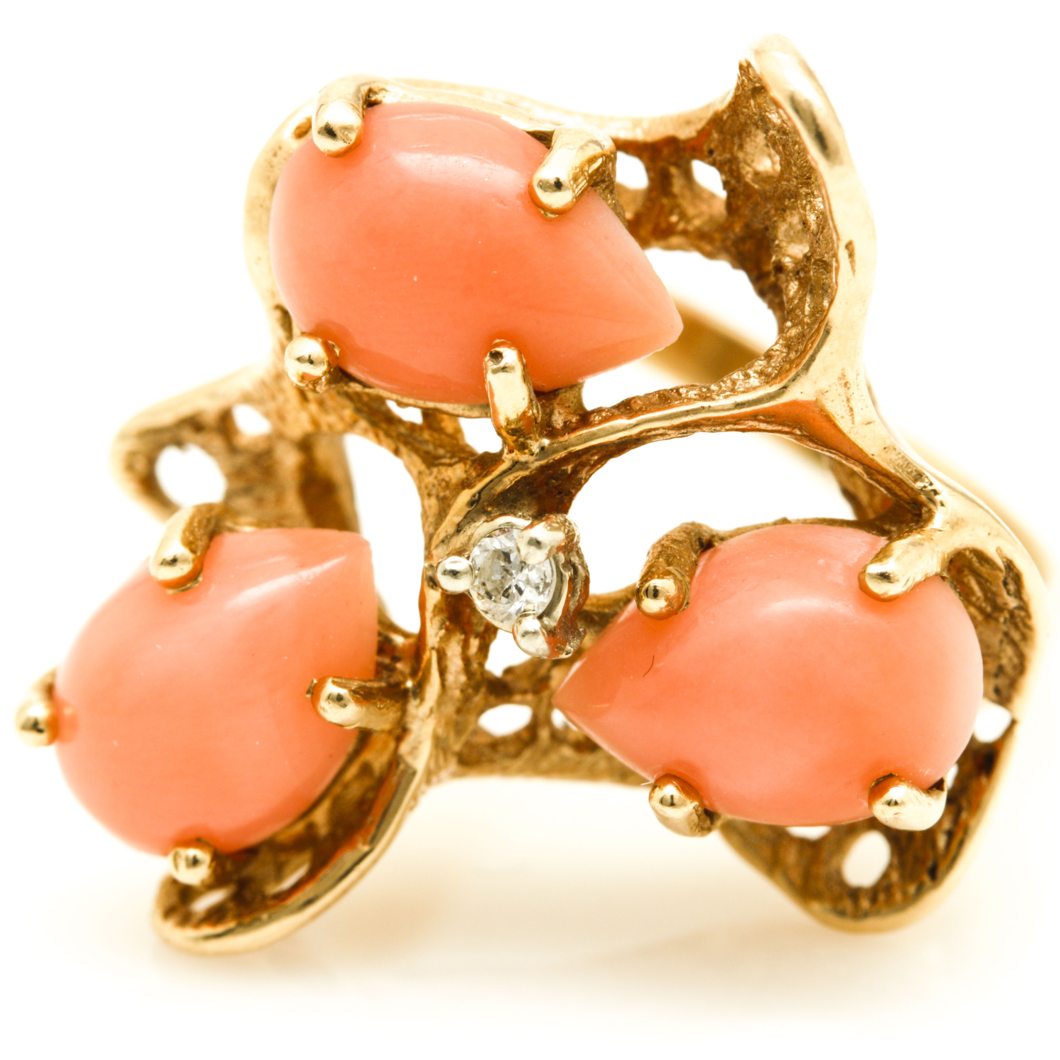 14K Yellow Gold Coral and Diamond Cluster Cocktail Ring
