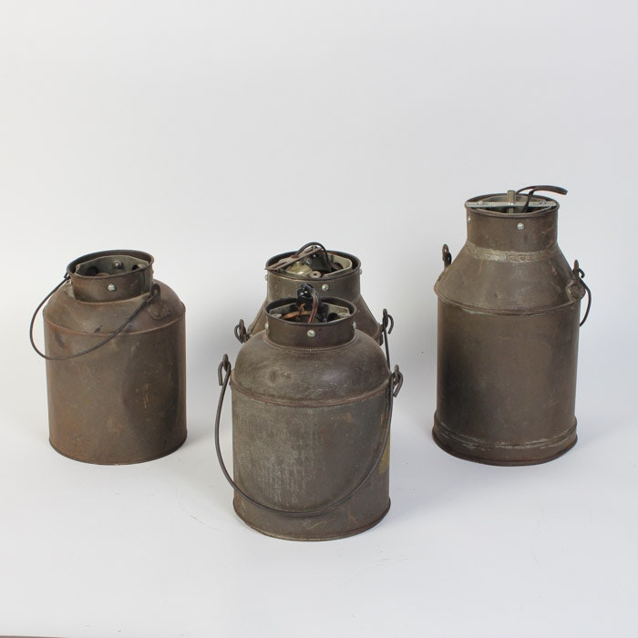 Collection of Converted Milk Jug Light Fixtures