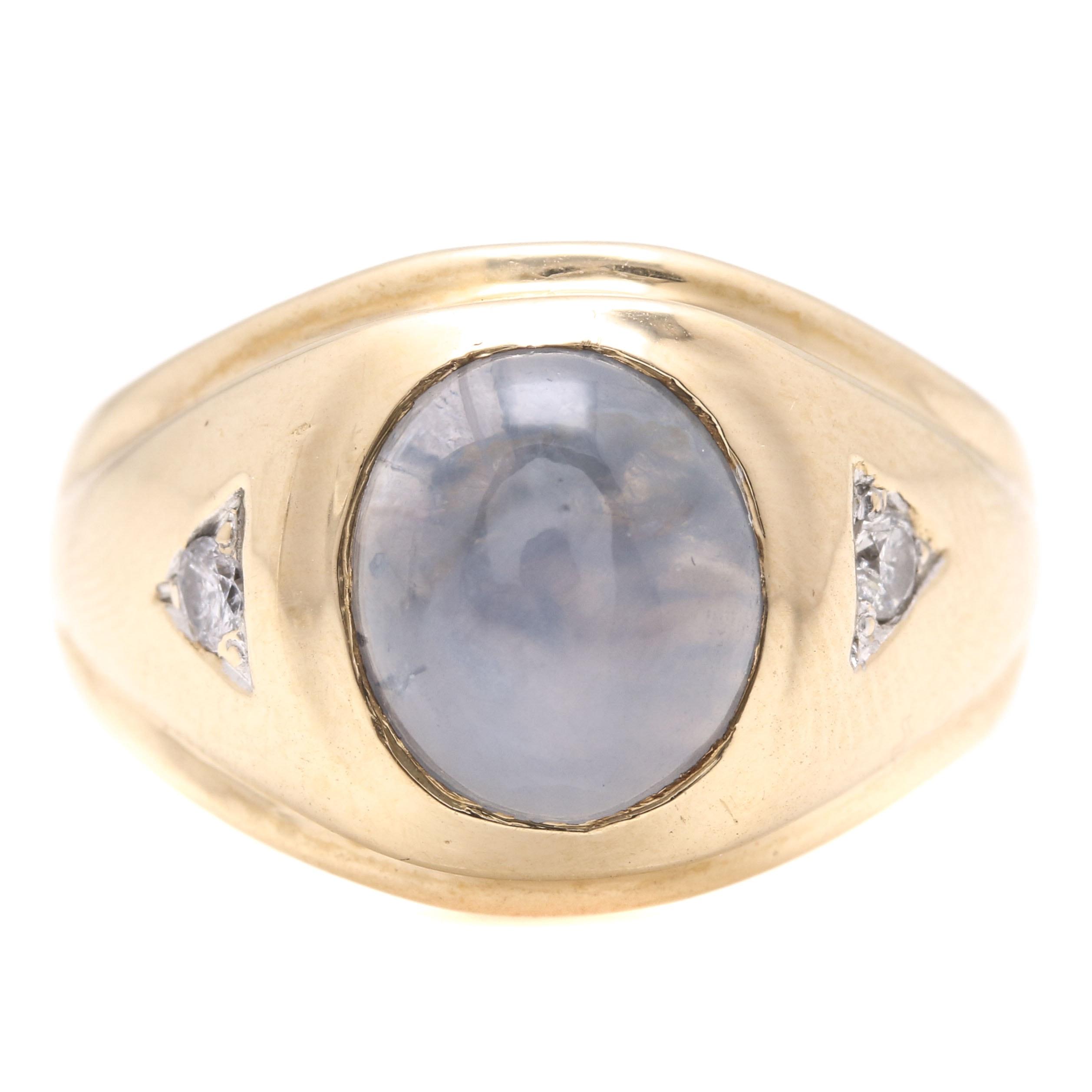 14K Yellow Gold Star Sapphire and Diamond Ring