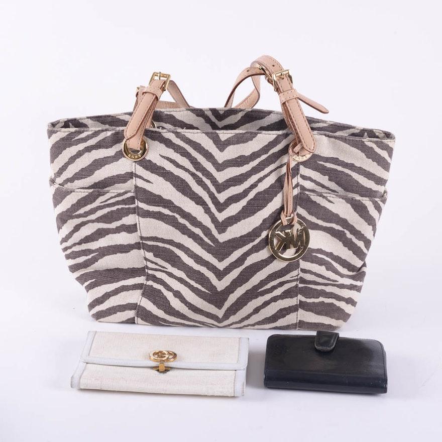 18605891130cf2 MICHAEL Michael Kors Zebra Printed Handbag With Gucci Wallet : EBTH
