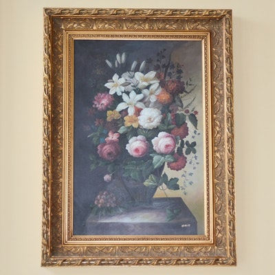 Signed Huber Oil on Canvas Floral Still Life Painting