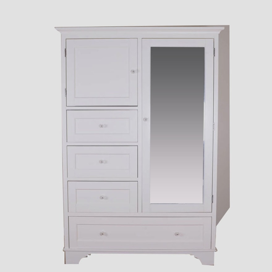 pottery barn white wood composite armoire ebth. Black Bedroom Furniture Sets. Home Design Ideas
