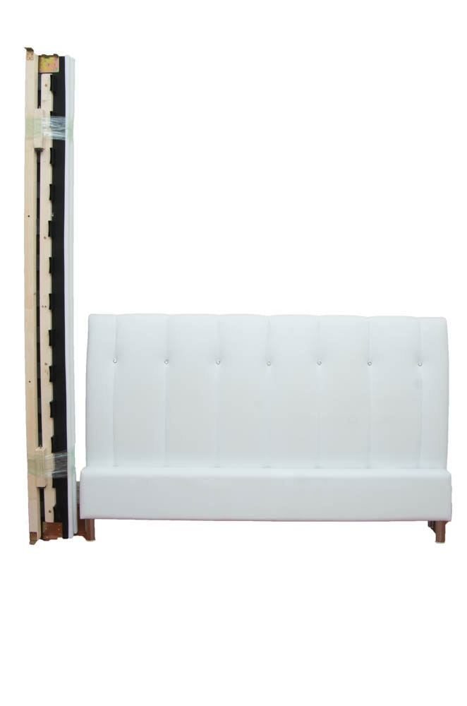 Queen Size White Leatherette Bed Frame