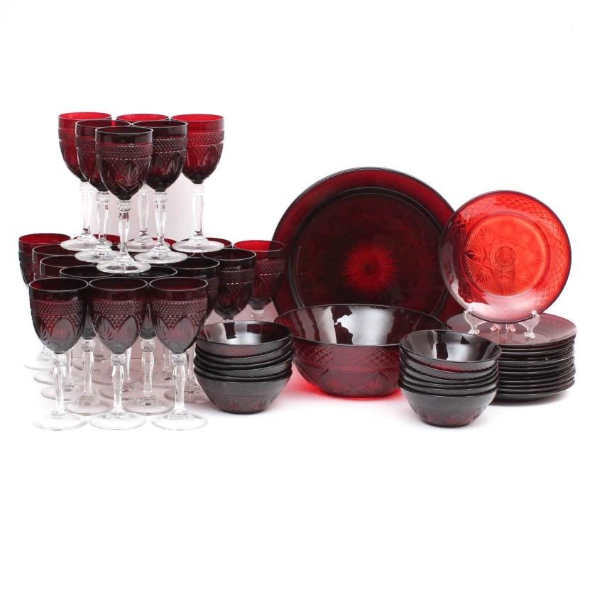 Vintage Ruby Red Glass Tableware