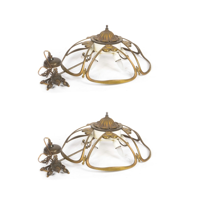 Pair of Brass Chandeliers