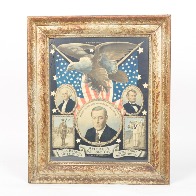 """""""America We Love You"""" WWI Chromolithograph Poster"""
