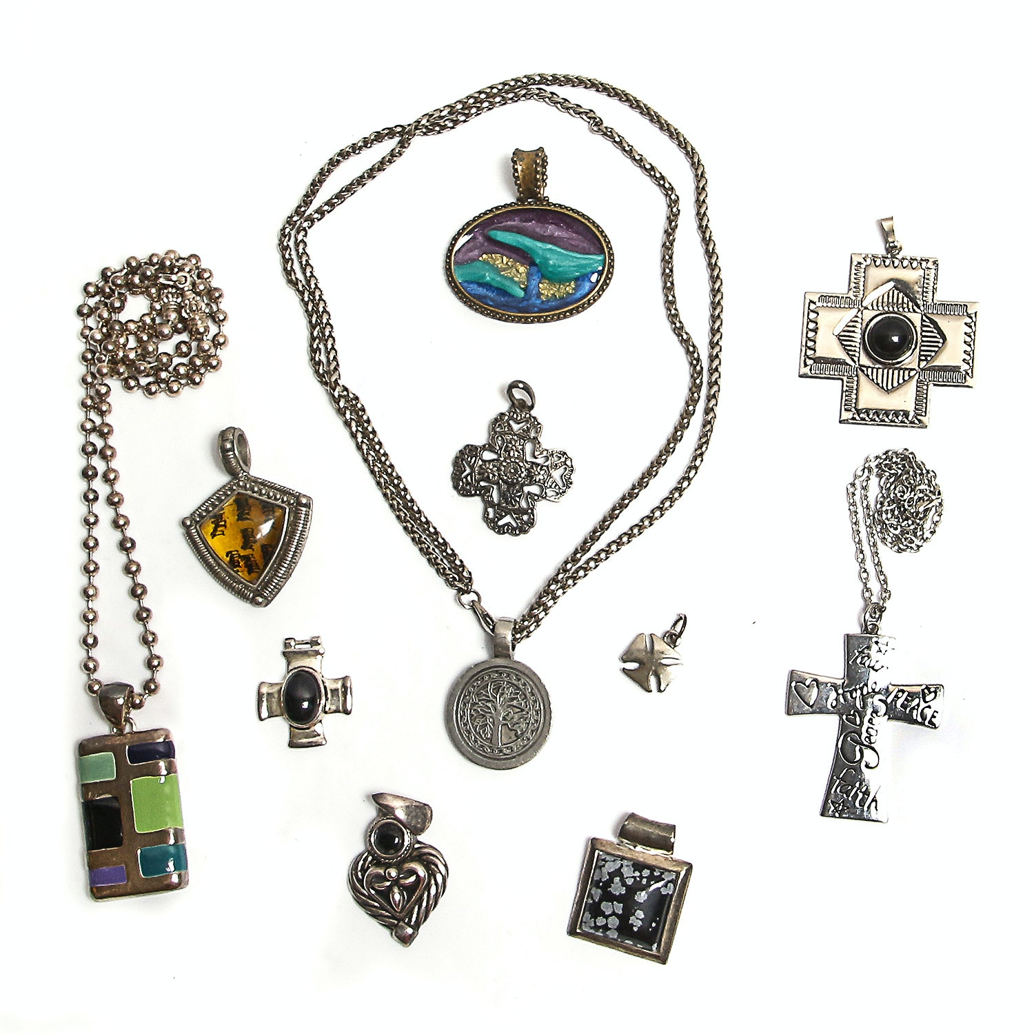 Silver-Tone Costume Necklaces and Pendants