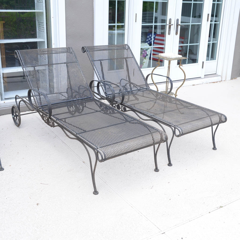 Pair of Woodard Wrought Iron Chaise Lounge Patio Chairs With Plant Stand EBTH