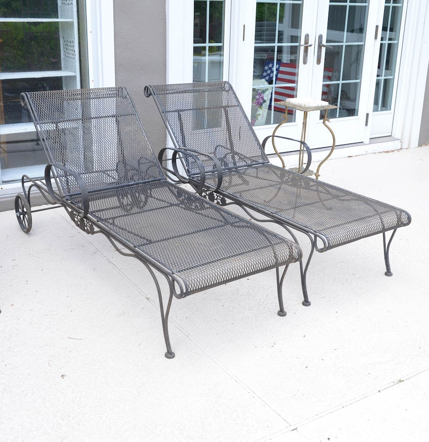 pair of woodard wrought iron chaise lounge patio chairs with plant stand ebth. Black Bedroom Furniture Sets. Home Design Ideas