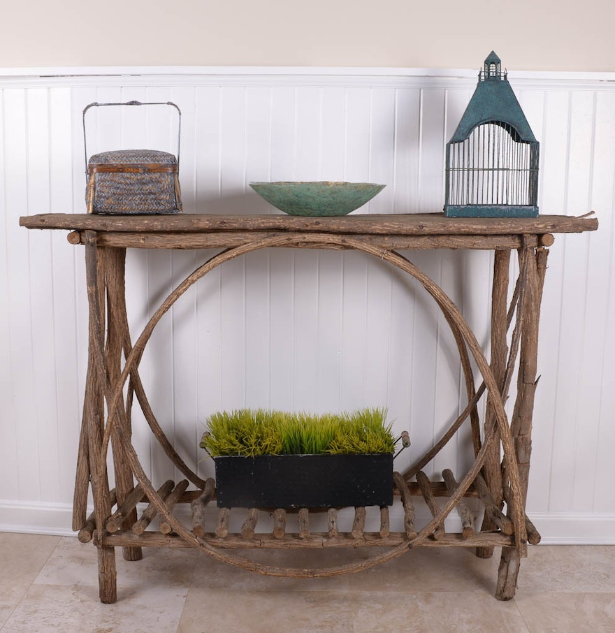 Rustic natural wood console table with accompanying decor ebth rustic natural wood console table with accompanying decor geotapseo Images