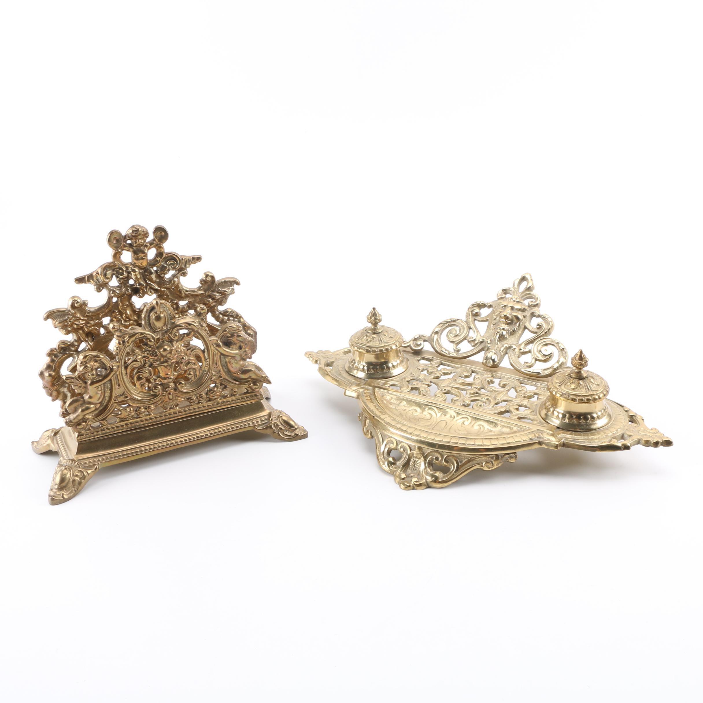 Brass Letter Holder and Inkwell Desk Set