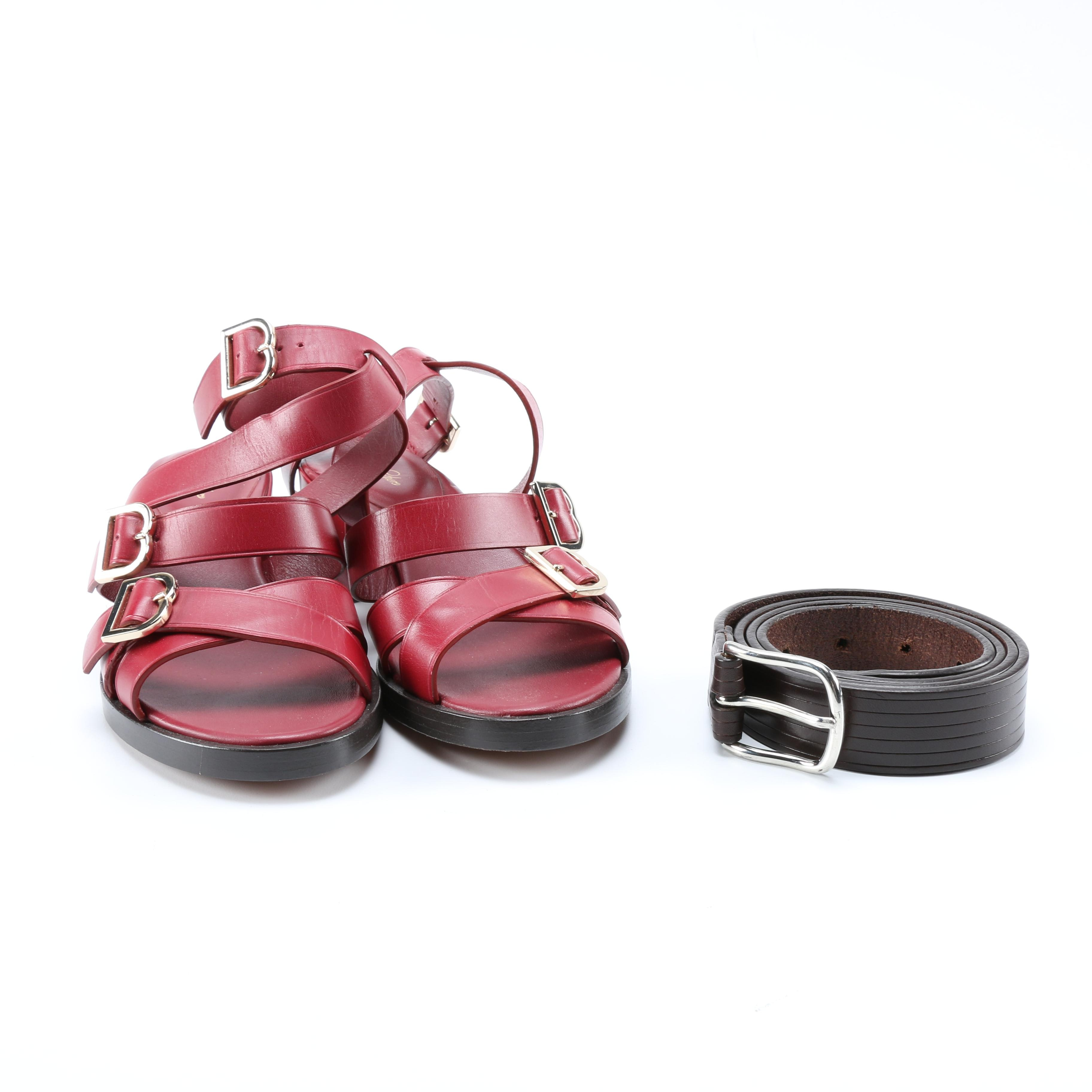 Brooks Brothers Strappy Sandals and Leather Belt