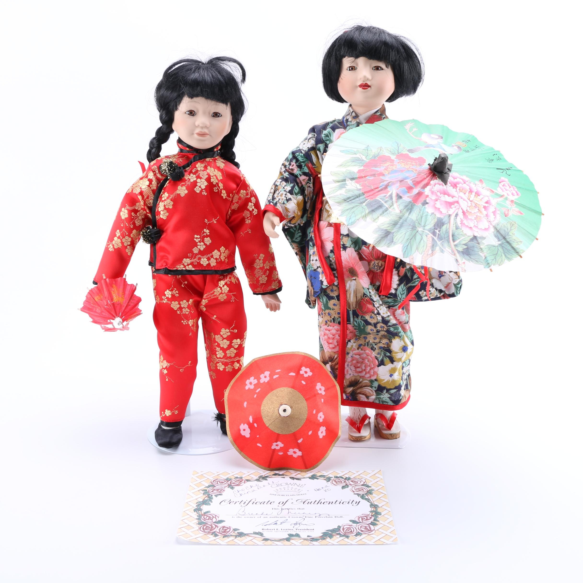 Crowne Chinese and Japanese Styled Porcelain Dolls