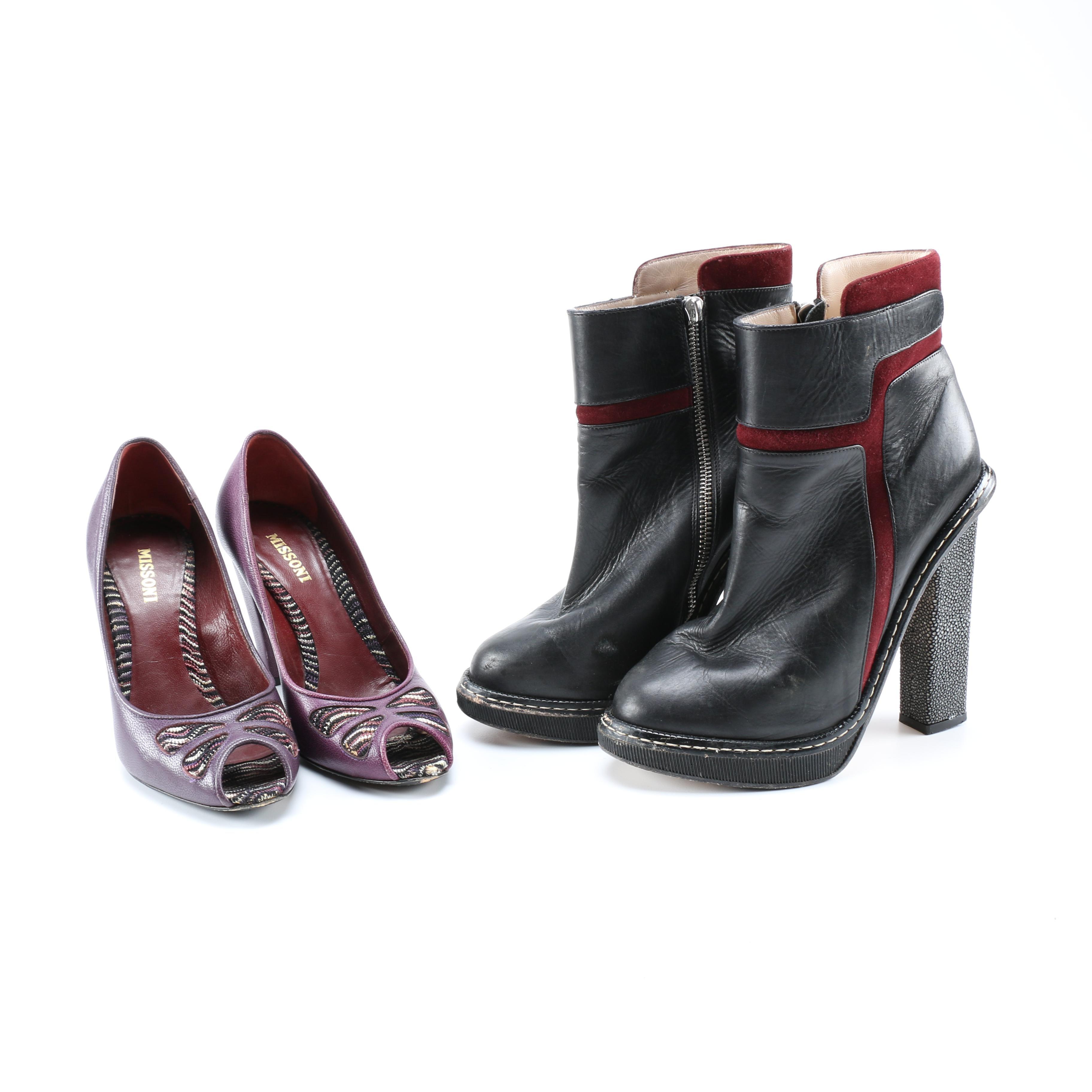 "Chrissie Morris ""Obi"" Stingray Ankle Boots and Missoni Peep Toe Pumps"