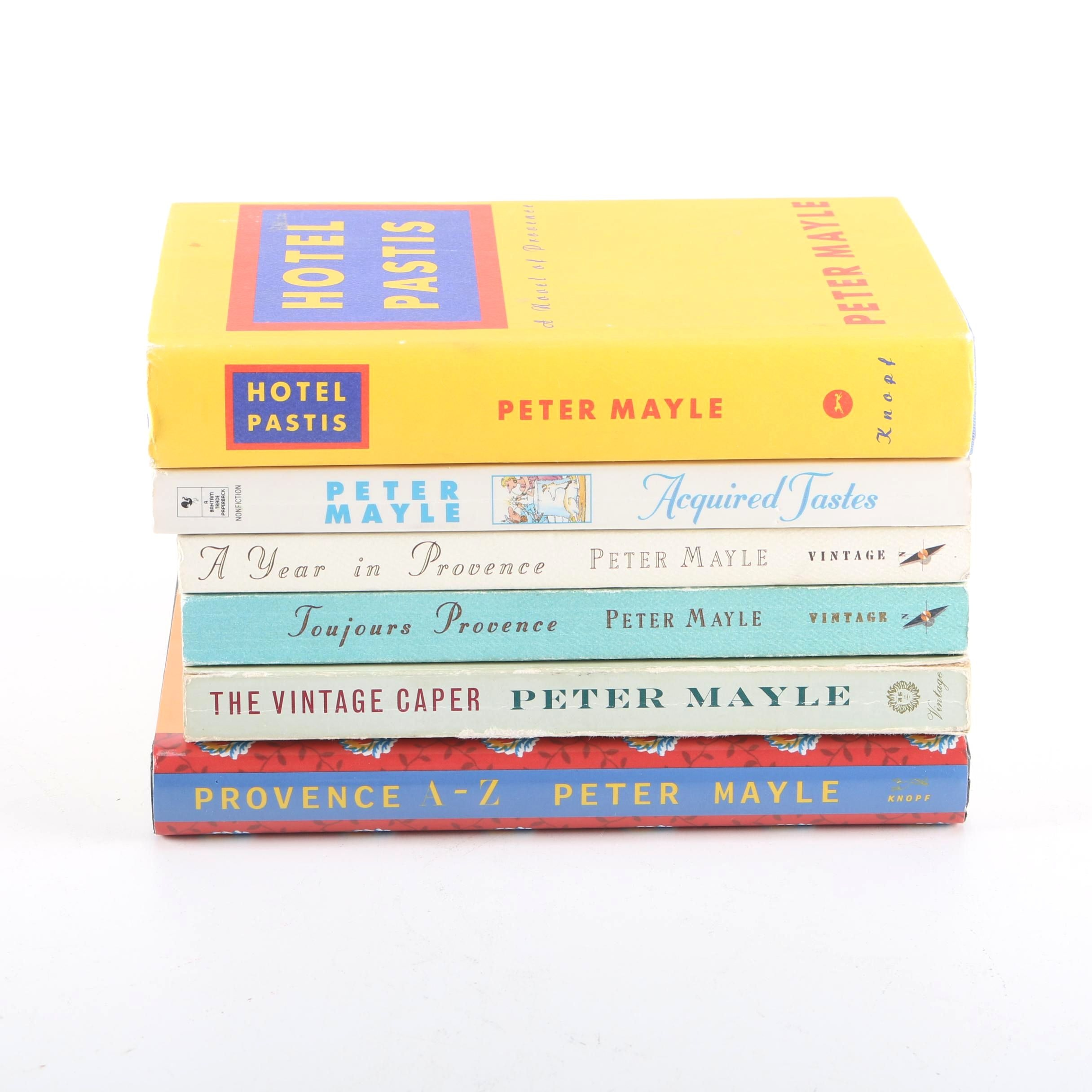 """Peter Mayle Books Featuring Signed """"Toujours Provence"""" and First Edition """"Hotel Pastis"""""""