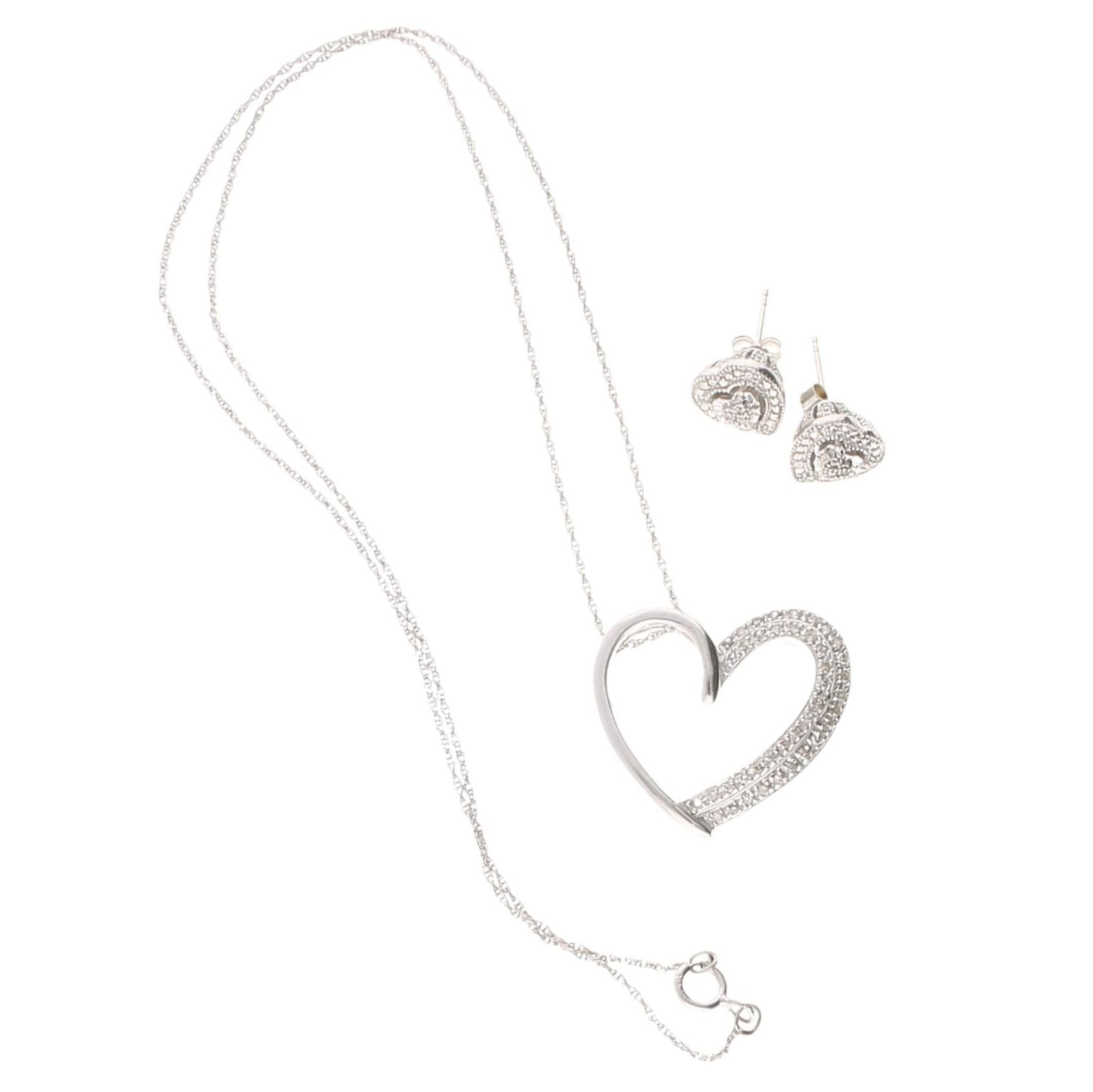 Sterling Silver and Diamond Necklace and Earrings