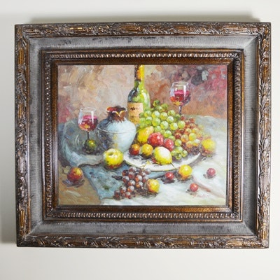 Zowact Signed Oil on Canvas Still Life Painting