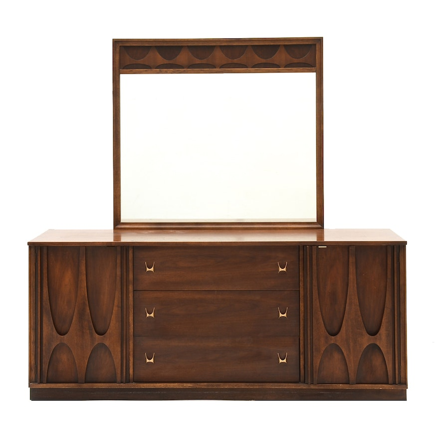 Triple Brasilia Dresser And Mirror By Broyhill