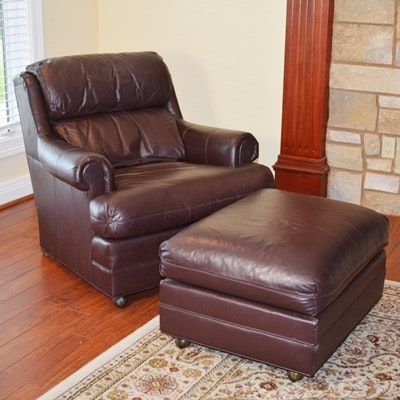 Dark Brown Leather Armchair and Ottoman by Drexel Furniture