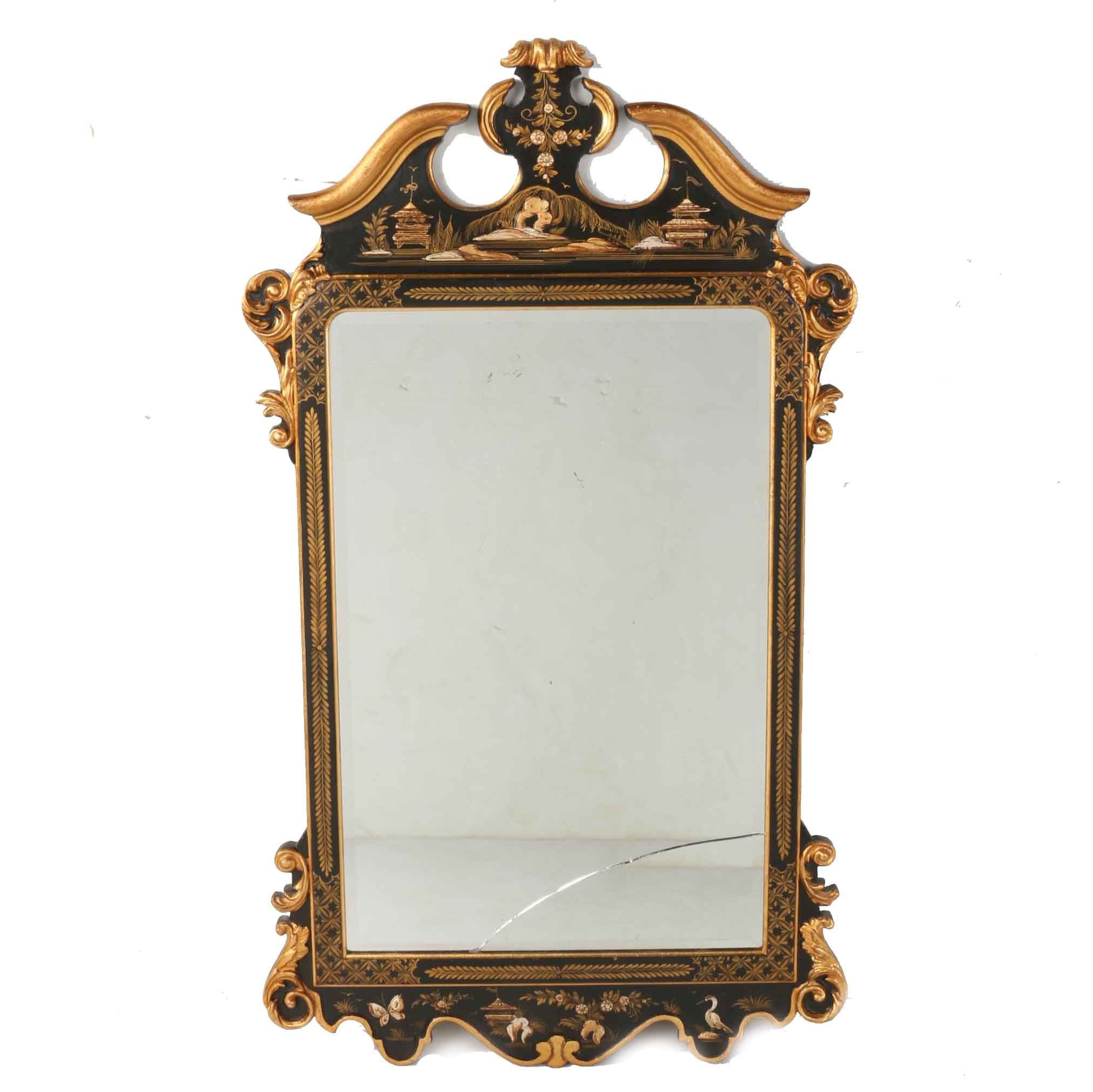 LaBarge Hand-Painted Wooden Wall Mirror