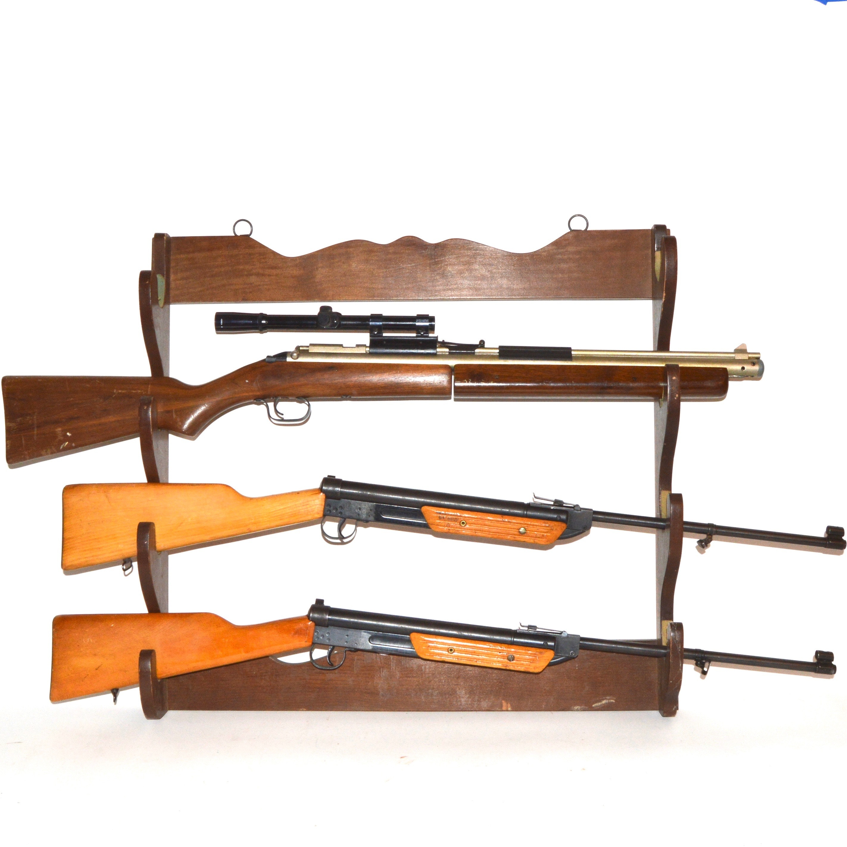 Three BB and Air Gun Rifles with Wooden Rifle Rack