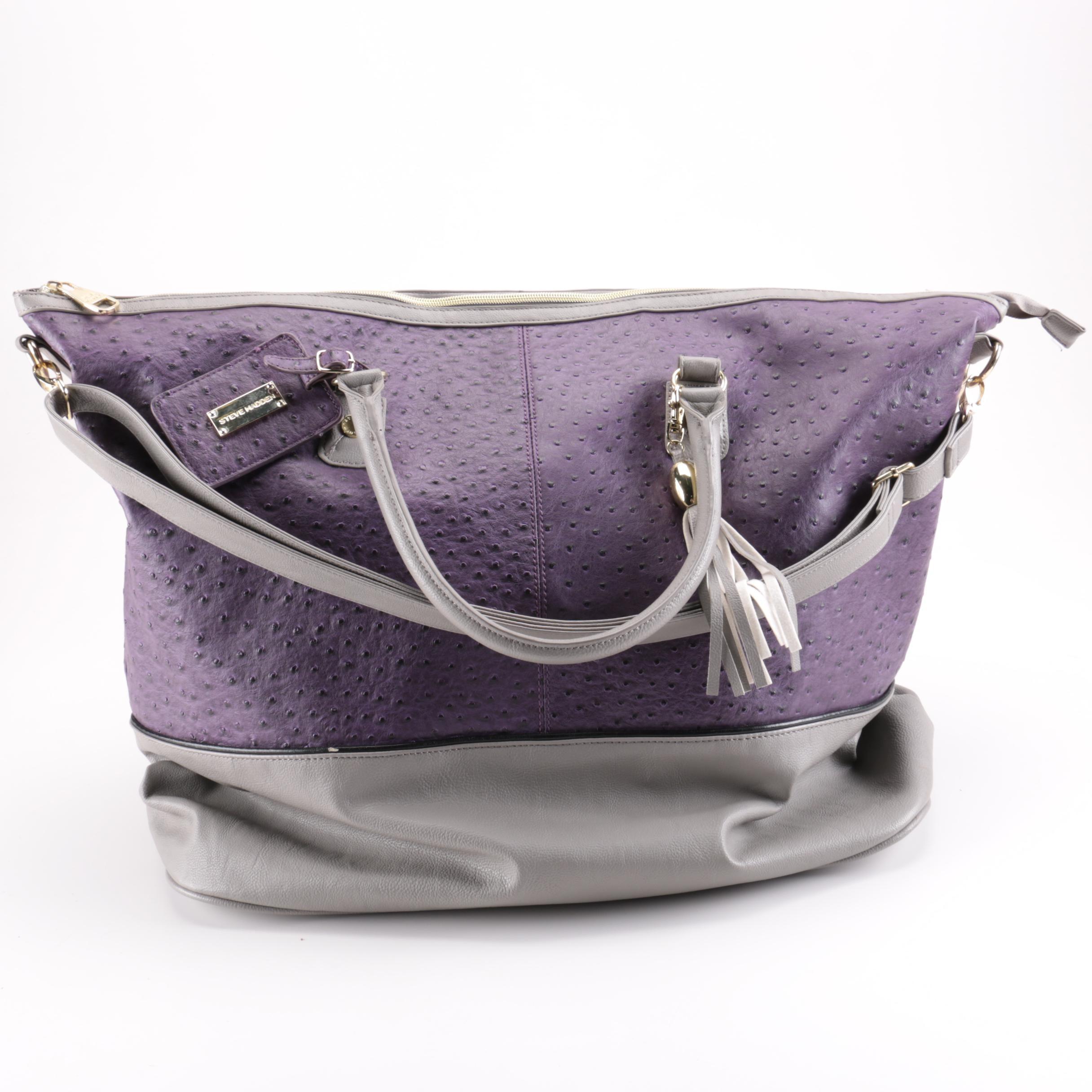 Steve Madden Embossed Ostrich Leather Handbag