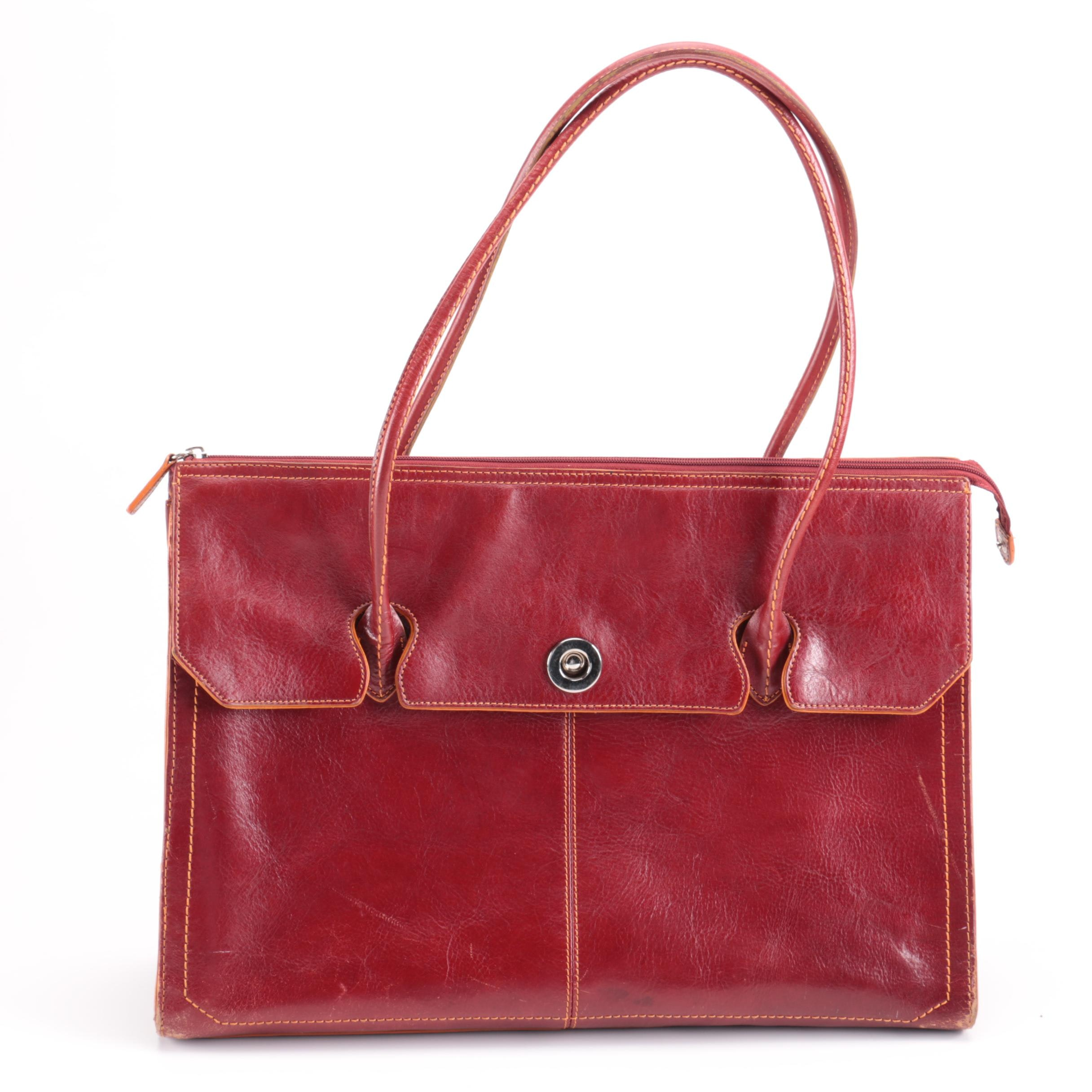 Wilson's Red Leather Tote