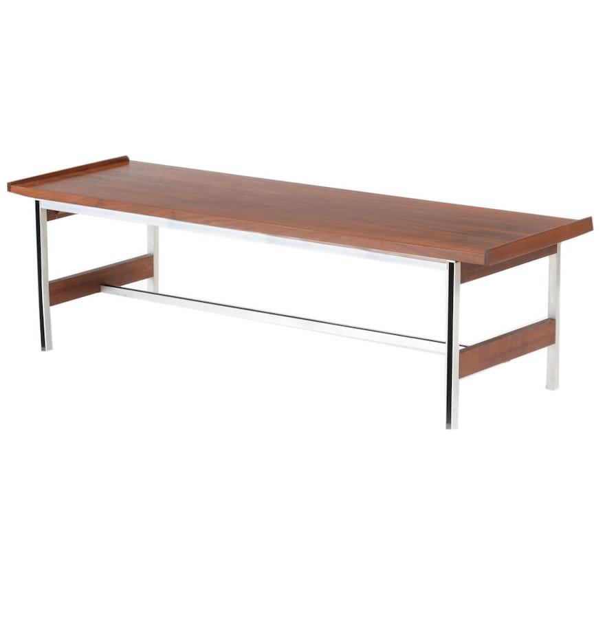 Mid century modern walnut and aluminum coffee table ebth mid century modern walnut and aluminum coffee table geotapseo Gallery