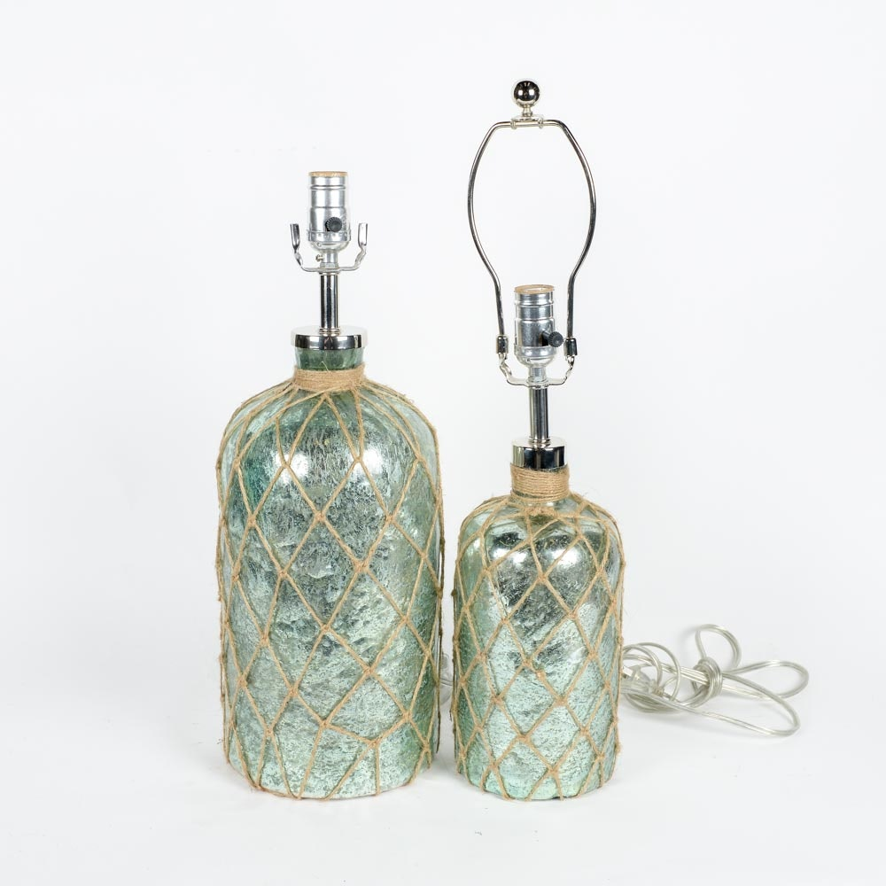 Painted Glass Table Lamps with Jute Netting