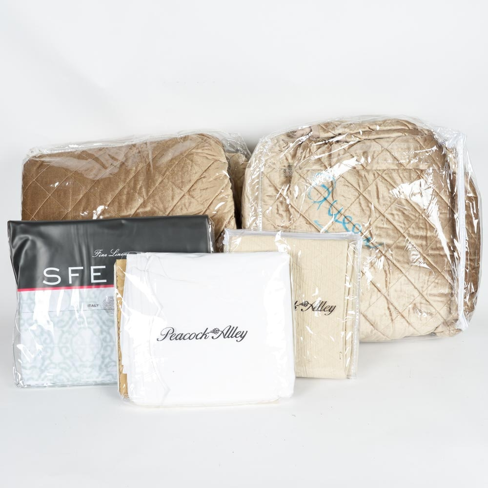 Collection of Luxury Bedding Including Peacock Alley