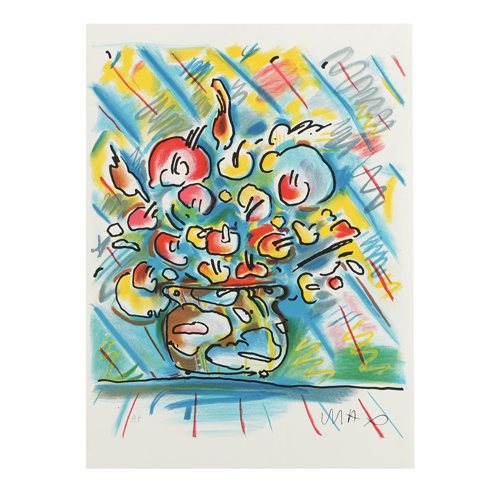 Peter Max Artist's Proof Color Lithograph on Paper of Flowers in a Vase