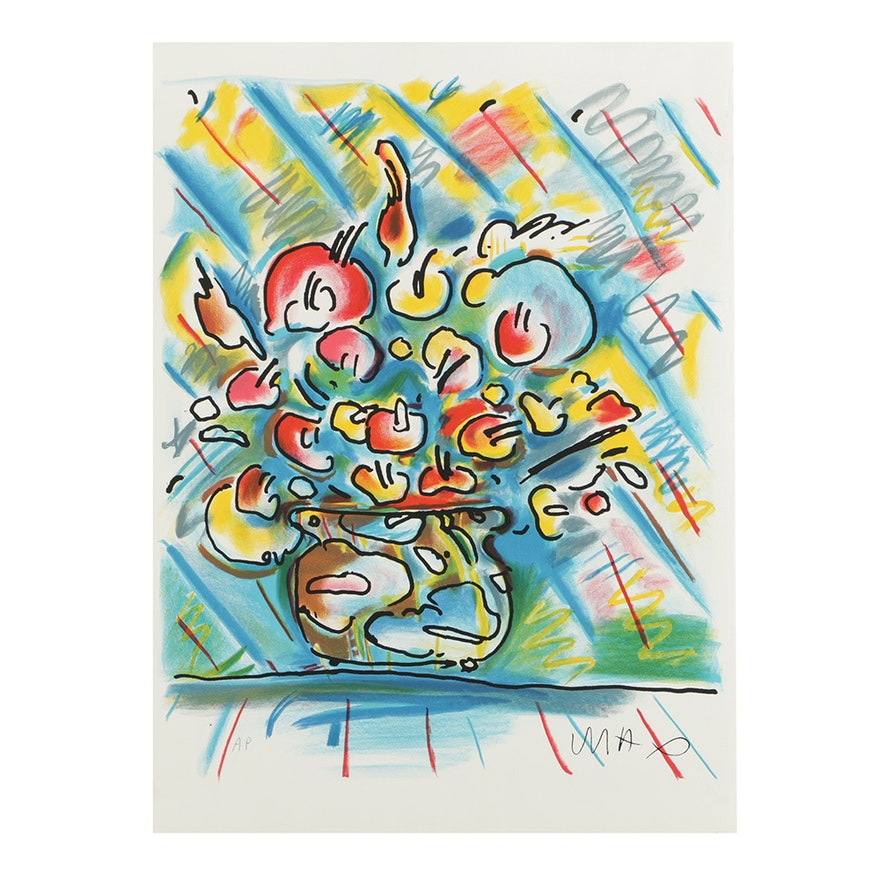 Peter Max Artists Proof Color Lithograph On Paper Of Flowers In A
