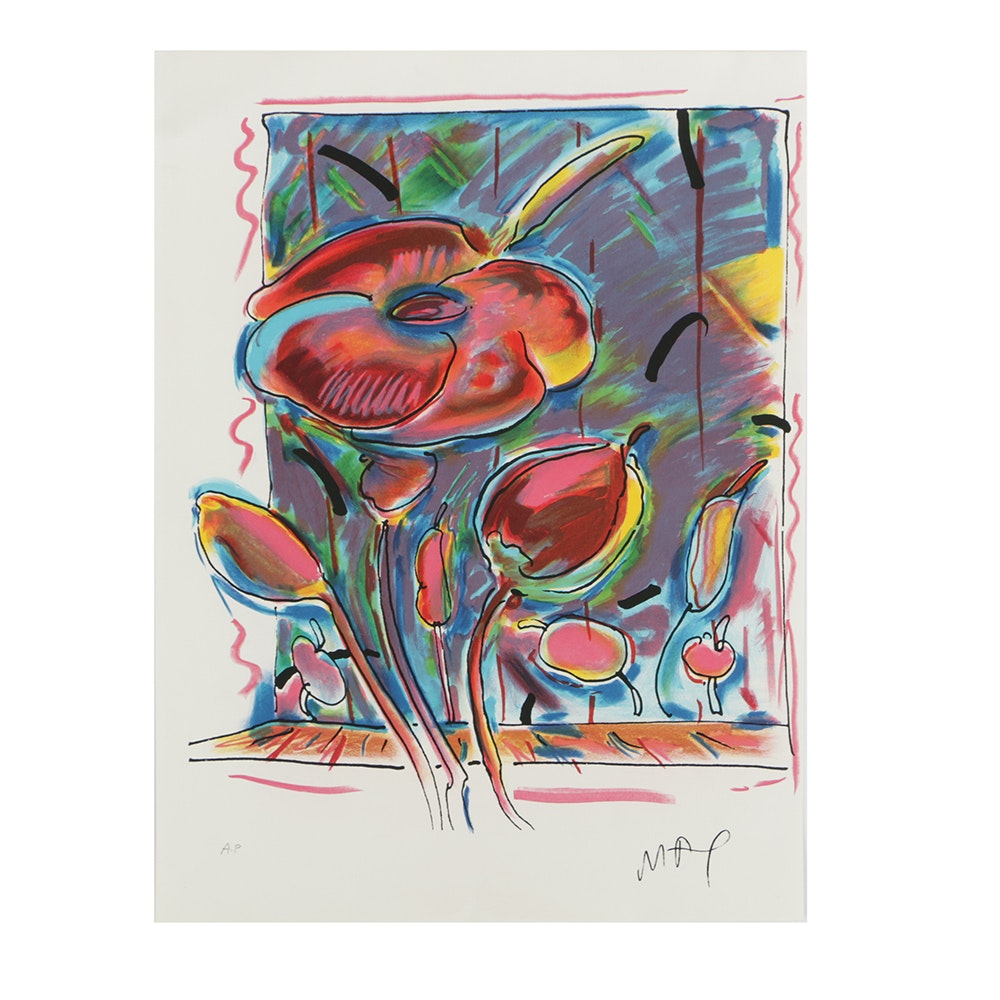 """Peter Max Artist's Proof Color Lithograph on Paper """"Garden Flowers"""""""