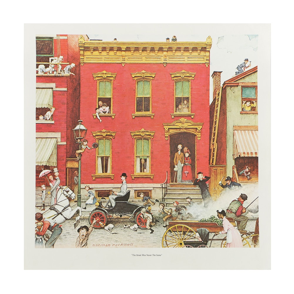"""After Norman Rockwell Offset Lithograph on Paper """"The Street Was Never the Same"""""""