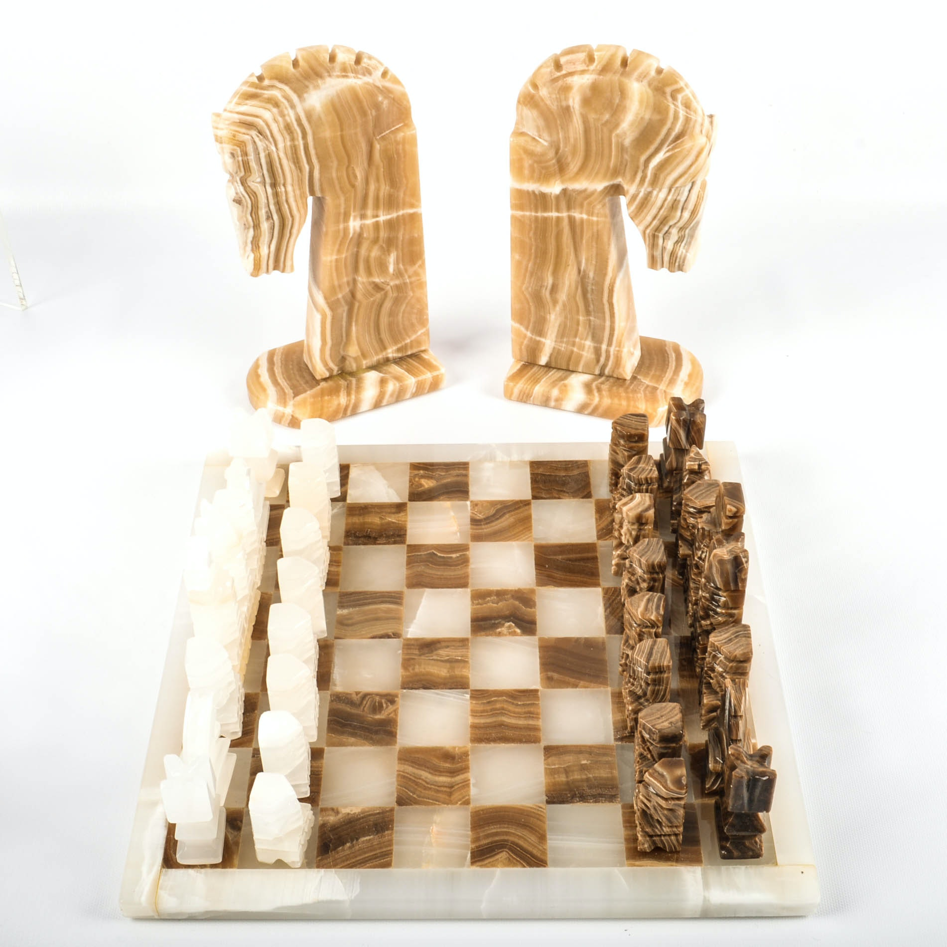 Carved Natural Stone Chess Set and Horse Head Bookends