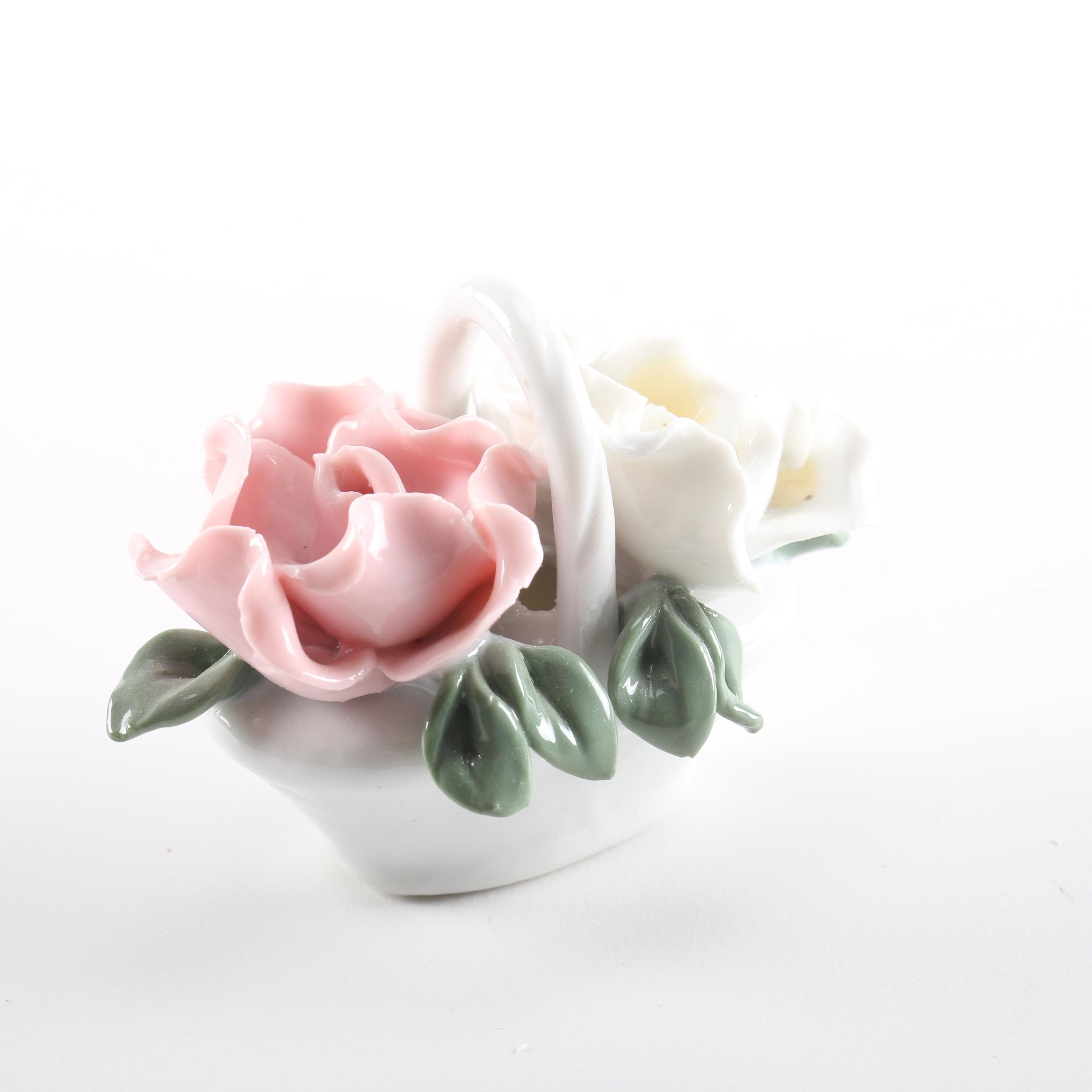 Porcelain Flower Basket Figurine