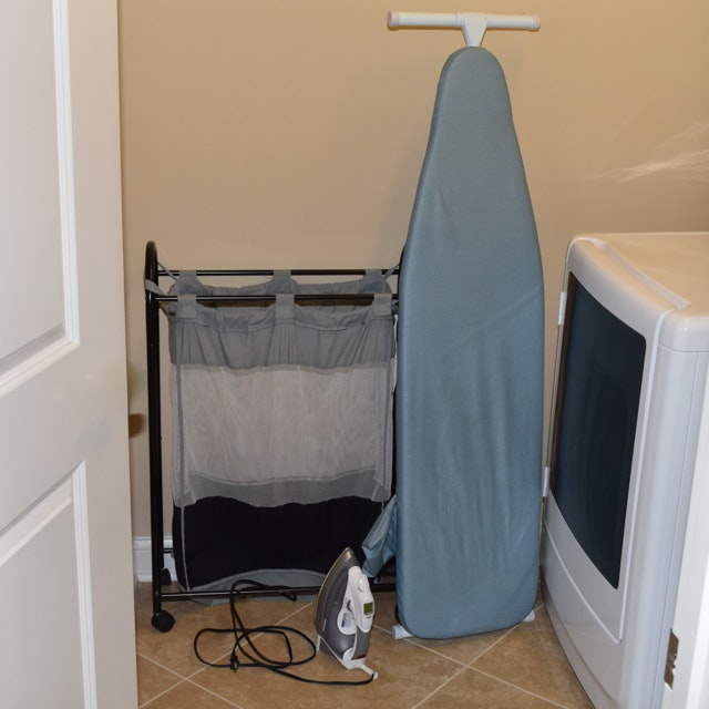 Ironing Board, Iron and Laundry Cart