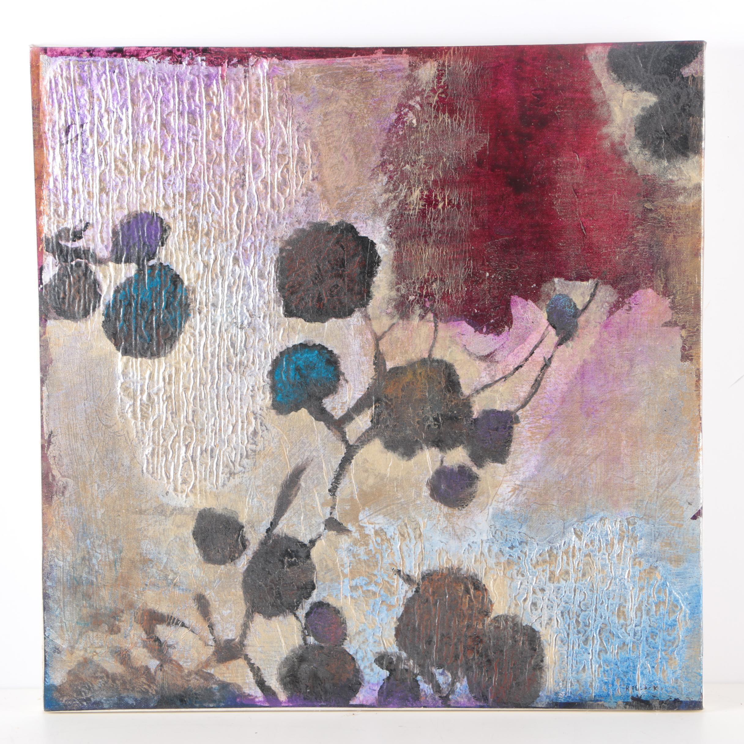 "Hollack ""Night Fall IV"" Mixed Media Painting"