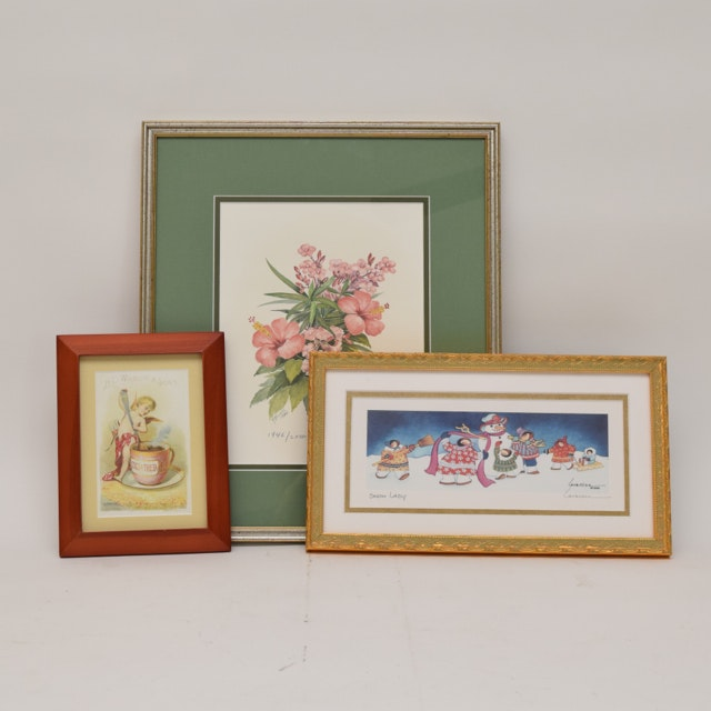 Offset Lithographs in Frames