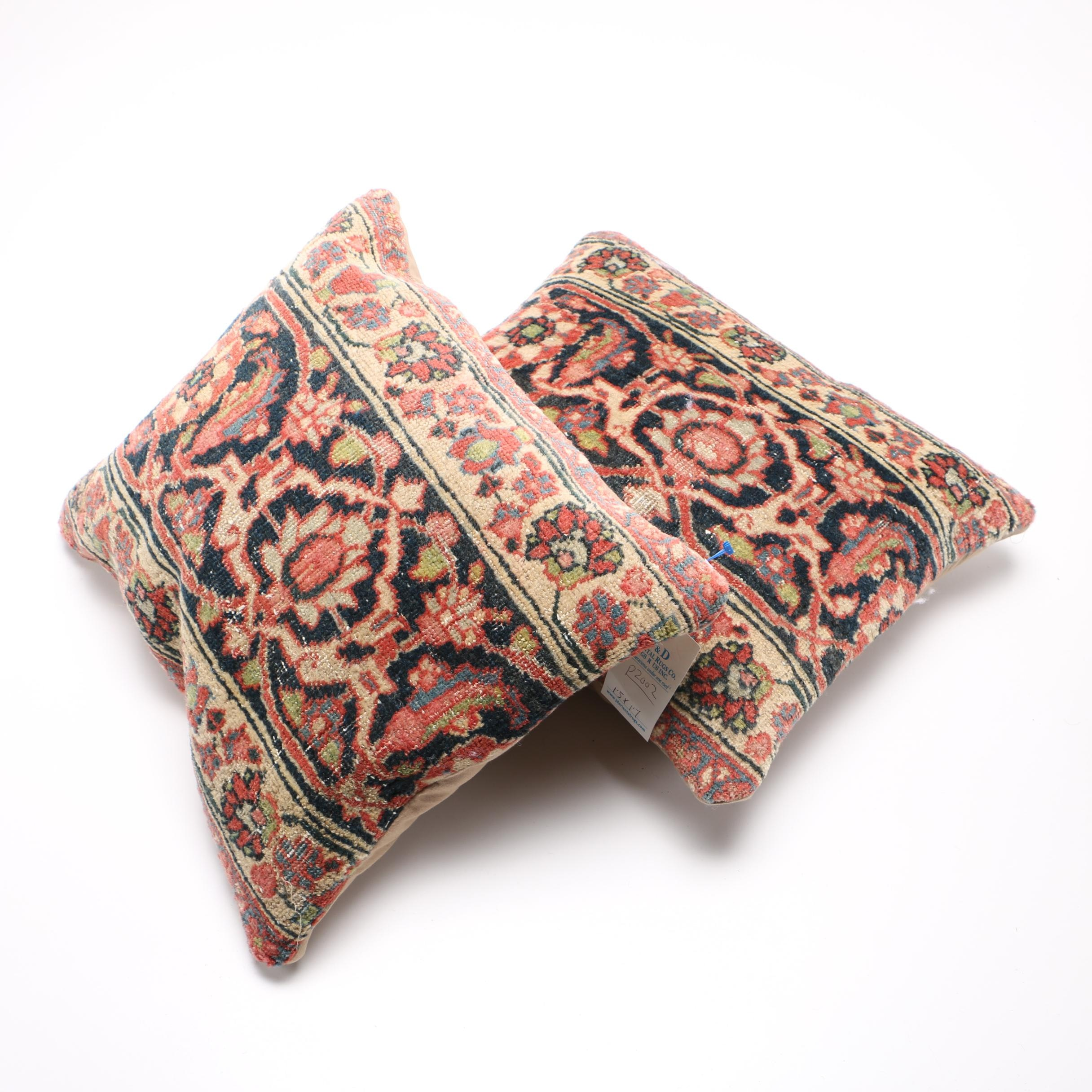 Antique Persian Tabriz Rug Pillows