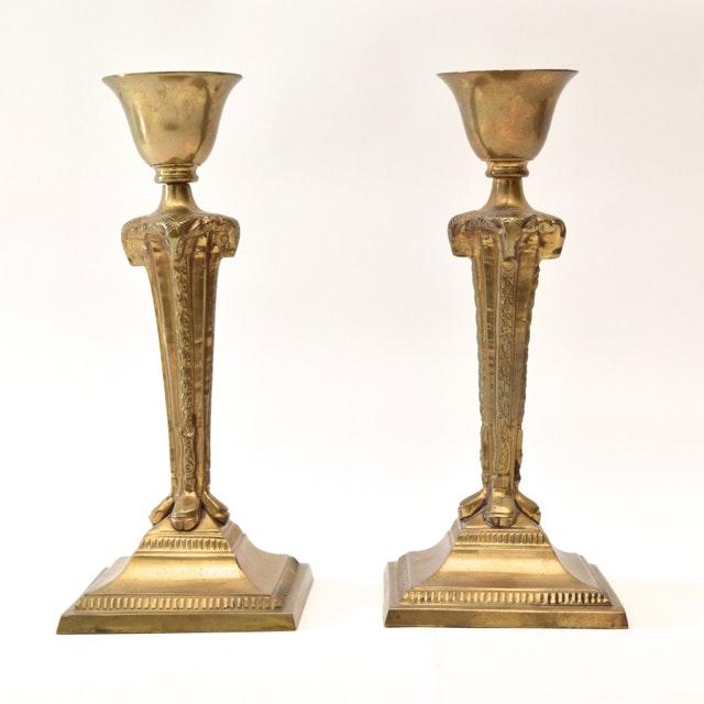 Vintage Brass Rams Head Candlesticks
