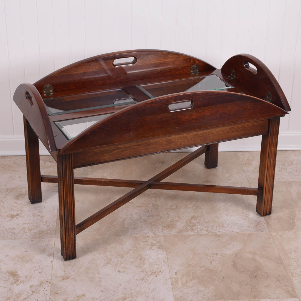 glass and walnut butler u0027s tray coffee table ebth