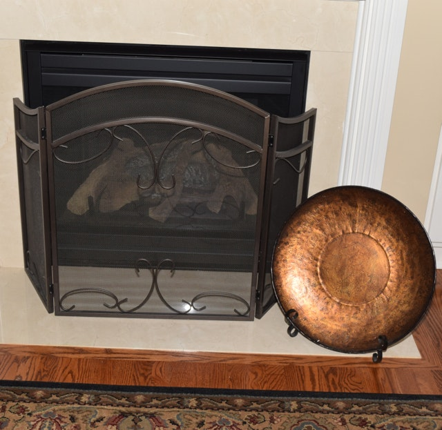 Fireplace Screen And Metal Platter